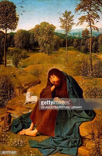 John the Baptist in the Wilderness painting by Geertgen tot Sint Jans Panel panel 42x28 cm Netherlands 15th century Berlino Dahlem Staatliche Museen...