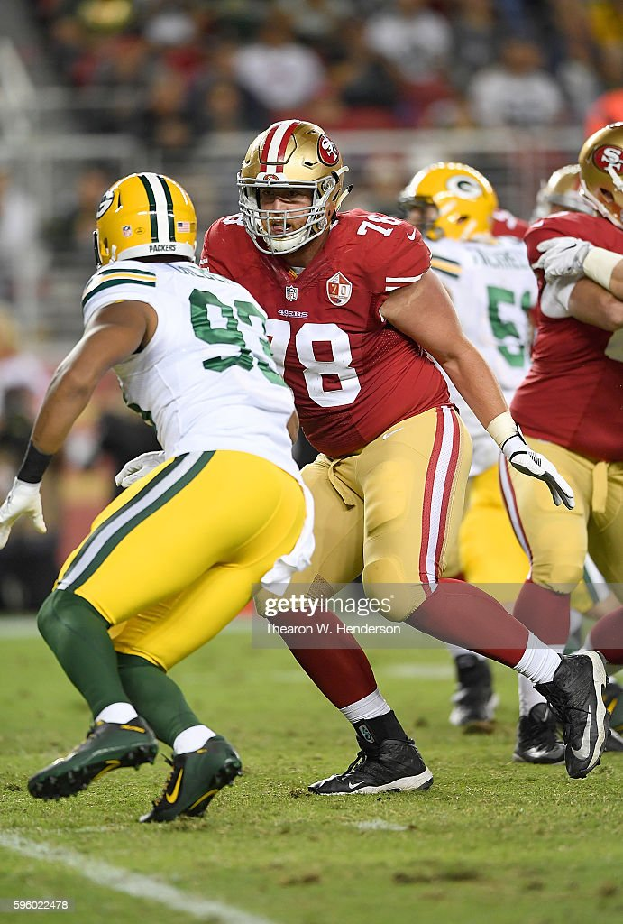 John Theus #78 of the San Francisco 49ers pass blocks against linebacker Reggie Gilbert #93 of the Green Bay Packers in the second half of their preseason football game at Levi's Stadium on August 26, 2016 in Santa Clara, California.
