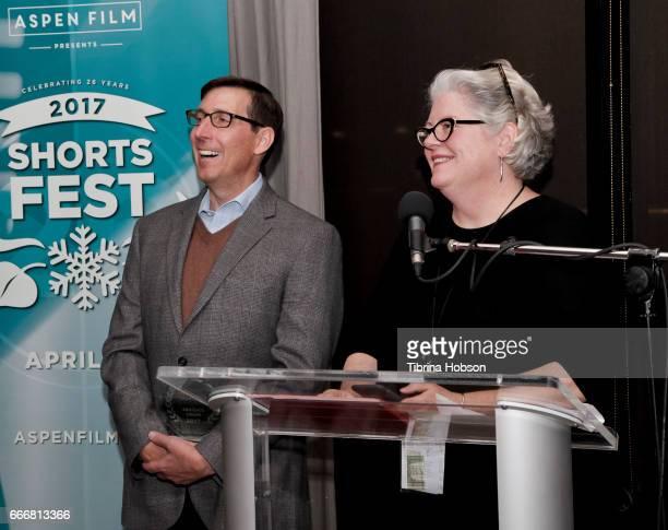 John Thew and Kathleen McInnis attend the 2017 Aspen Shortsfest Awards Dinner on April 9 2017 at Aspen Kitchen in Aspen Colorado