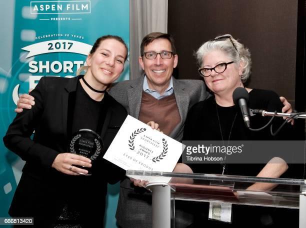 John Thew and Kathleen McInnis awards Antoneta Alamat Kusijanovic with the audience award at the 2017 Aspen Shortsfest Awards Dinner on April 9 2017...