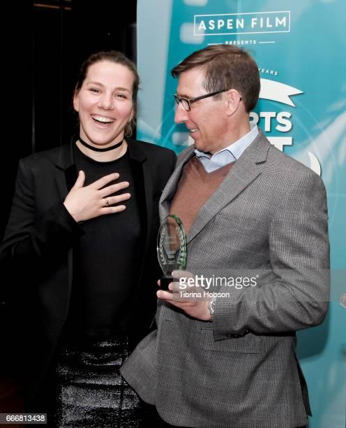John Thew awards Antoneta Alamat Kusijanovic with the audience award at the 2017 Aspen Shortsfest Awards Dinner on April 9 2017 at Aspen Kitchen in...