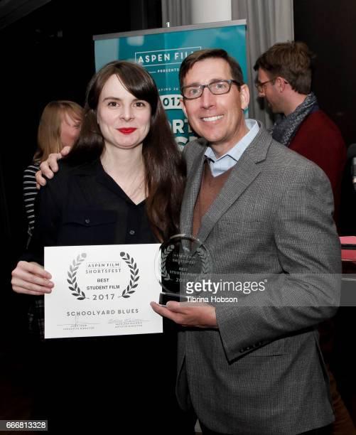 John Thew awards Maria Eriksson with the Best Student Film Award at the 2017 Aspen Shortsfest Awards Dinner on April 9 2017 at Aspen Kitchen in Aspen...