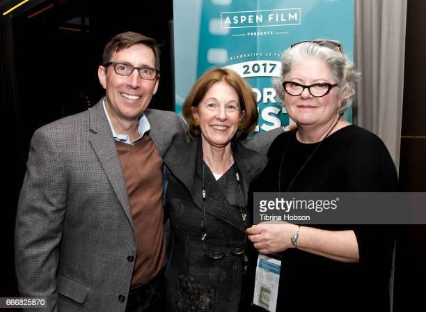 John Thew Linda Girvin and Kathleen McInnis attend the 2017 Aspen Shortsfest Awards Dinner on April 9 2017 at Aspen Kitchen in Aspen Colorado