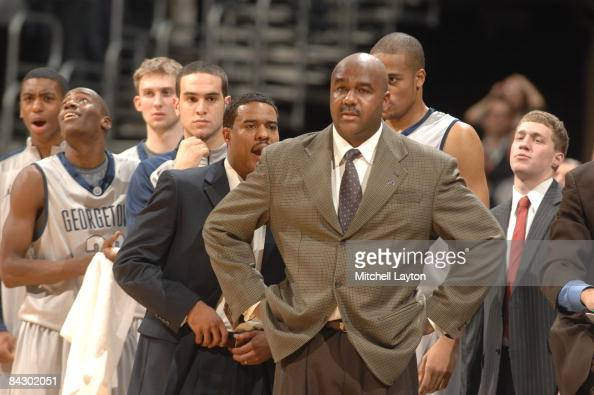 John Thompson III head coach of the Georgetown Hoyas looks on during a college basketball game against the Syracuse Orange on January 14 2009 at...