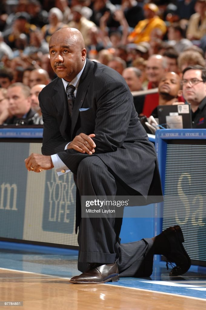 John Thompson III head coach of the Georgetown Hoyas looks on during the Big East Final College Basketball Tounament game against the West Virginia...