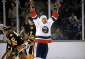 John Tonelli of the New York Islanders celebrates on the ice during the 1980 Quarter Finals against the Boston Bruins in April 1980 at the Nassau...