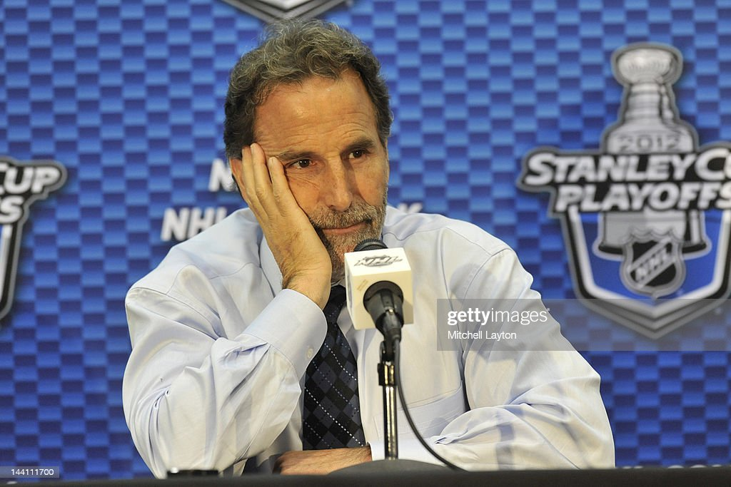 <a gi-track='captionPersonalityLinkClicked' href=/galleries/search?phrase=John+Tortorella&family=editorial&specificpeople=213393 ng-click='$event.stopPropagation()'>John Tortorella</a>, Head of the New York Rangers, speaks to the press after Game Six of the Eastern Conference Semifinals against the Washington Capitals during the 2012 NHL Stanley Cup Playoffs at Verizon Center on May 9, 2012 in Washington, DC.