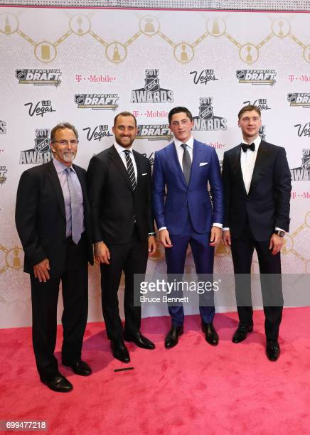 John Tortorella Nick Foligno Zach Werenski and Sergei Bobrovsky of the Columbus Blue Jackets attend the 2017 NHL Awards at TMobile Arena on June 21...