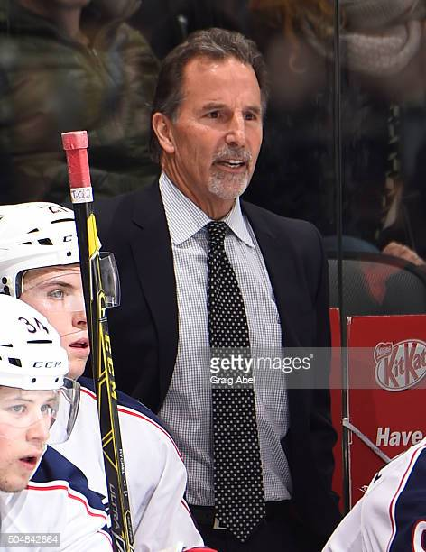 John Tortorella of the Columbus Blue Jackets looks on from the bench during NHL game action against the Toronto Maple Leafs January 13 2016 at Air...