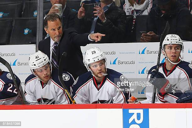 John Tortorella of the Columbus Blue Jackets looks on from the bench against the Columbus Blue Jackets at the Barclays Center on March 31 2016 in...