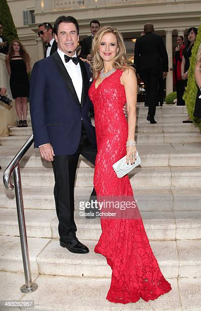 John Travolta and his wife Kelly Preston attend amfAR's 21st Cinema Against AIDS Gala Presented By WORLDVIEW BOLD FILMS and BVLGARI at Hotel du...