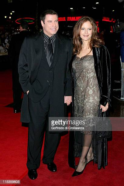 John Travolta and his wife Kelly Preston during 'Be Cool' London Premiere at Empire Leicester Square in London Great Britain