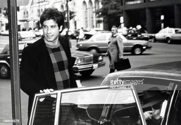 John Travolta and Jamie Lee Curtis during John Travolta and Jamie Lee Curtis Sighting in Washington DC to Promote 'Perfect' November 2 1984 at Duke's...