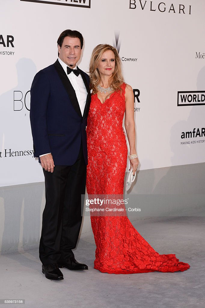 John Travolta and Kelly Preston at the amfAR's 21st Cinema Against AIDS Gala at Hotel du Cap-Eden-Roc during the 67th Cannes Film Festival