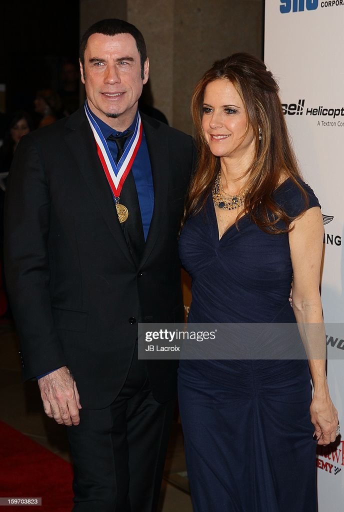 John Travolta and Kelly Preston attend the Living Legends Of Aviation Awards at The Beverly Hilton Hotel on January 18, 2013 in Beverly Hills, California.