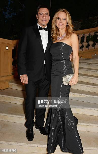 John Travolta and Kelly Preston attends the welcome party for Puerto Azul Experience Night at Villa St George on May 21 2014 in Cannes France