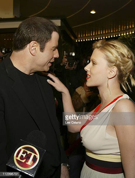 John Travolta and Scarlett Johansson during 'A Love Song for Bobby Long' Los Angeles Premiere Red Carpet at Mann Bruin Theater in Westwood California...