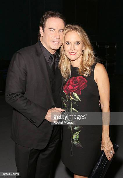 John Travolta and wife Kelly Preston photographed backstage as Andrea Bocelli gives a onceinalifetime performance at HollywoodÕs Dolby Theatre on...