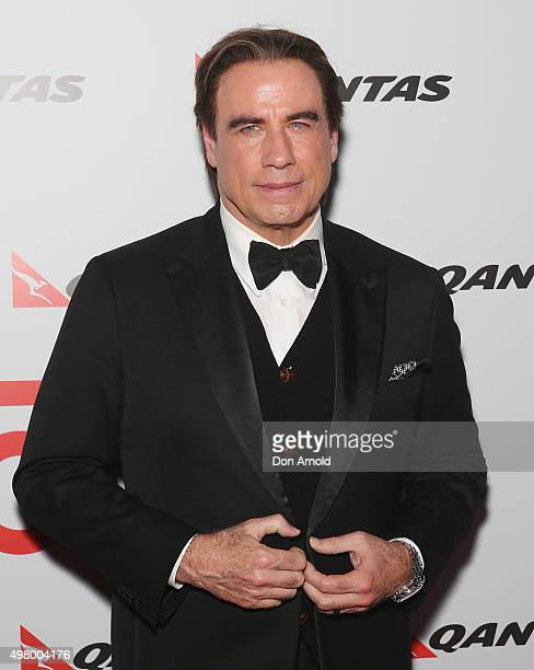 John Travolta arrives at the QANTAS 95th Birthday Gala Celebration at Hangar 96 in the Qantas Jetbase on November 20 2015 in Sydney Australia