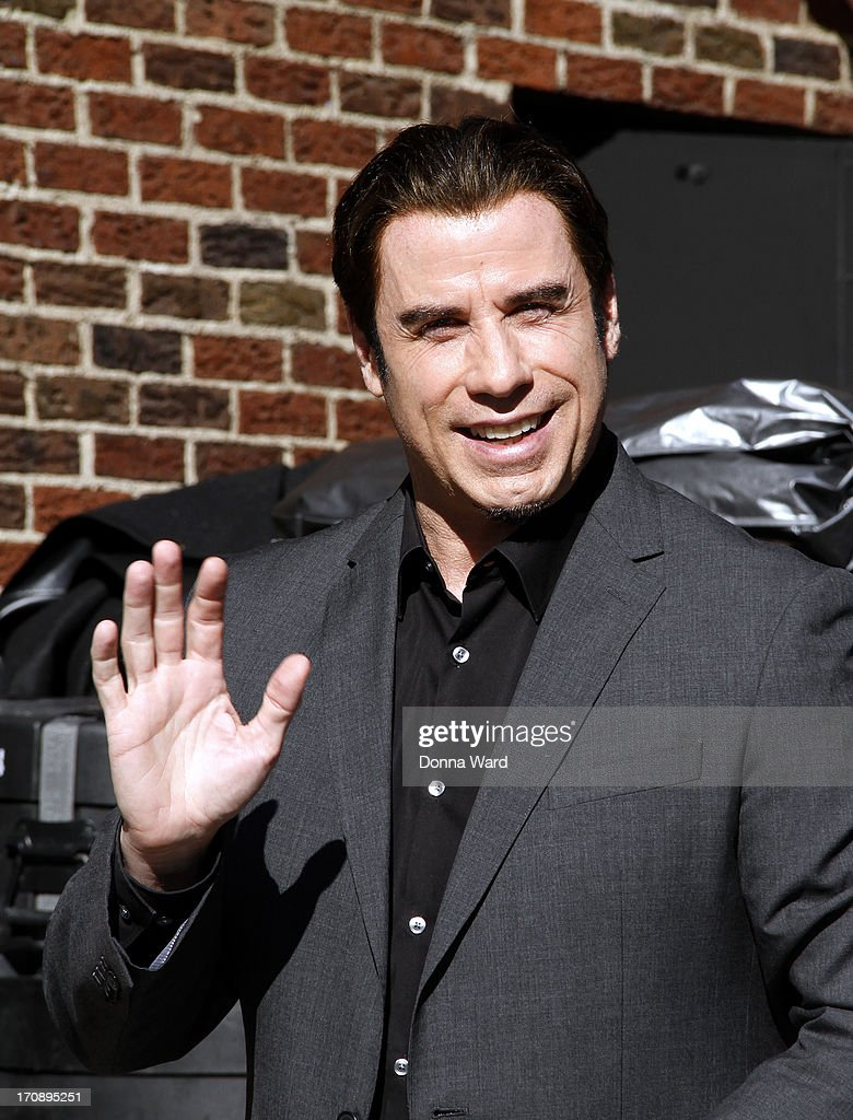 <a gi-track='captionPersonalityLinkClicked' href=/galleries/search?phrase=John+Travolta&family=editorial&specificpeople=178204 ng-click='$event.stopPropagation()'>John Travolta</a> arrives for the 'Late Show with David Letterman' at Ed Sullivan Theater on June 19, 2013 in New York City.
