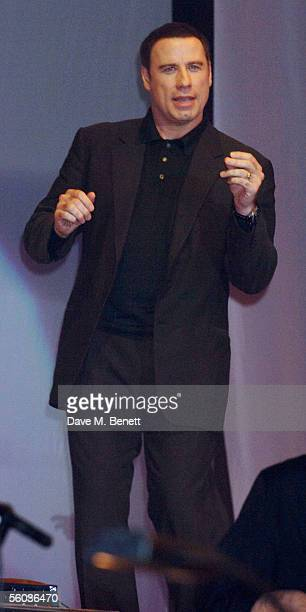 John Travolta dances on stage at the Church of Scientology Annual Gala charity concert headed by Isaac Hayes at Saint Hill Manor on October 30 2005...