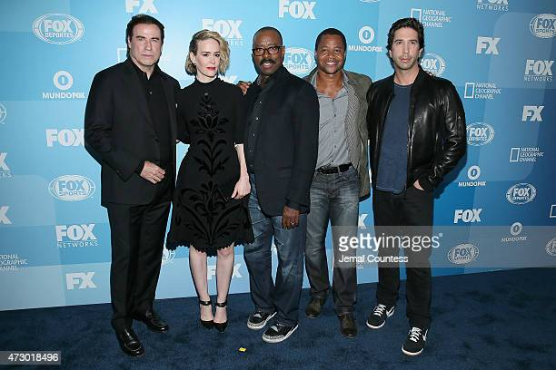 John Travolta Sarah Paulson Courtney B Vance Cuba Gooding Jr and David Schwimmer attend the 2015 FOX programming presentation at Wollman Rink in...