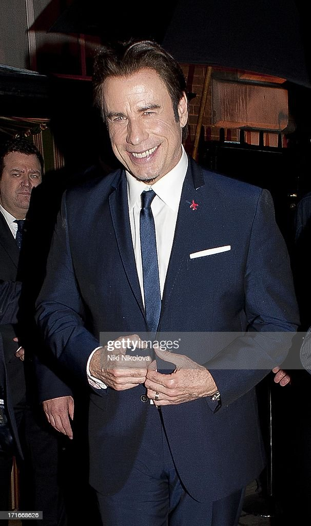 <a gi-track='captionPersonalityLinkClicked' href=/galleries/search?phrase=John+Travolta&family=editorial&specificpeople=178204 ng-click='$event.stopPropagation()'>John Travolta</a> sighting Annabel's Club, Mayfair on June 27, 2013 in London, England.