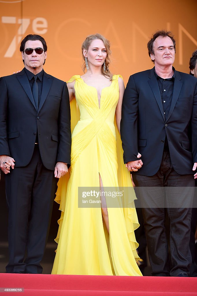 <a gi-track='captionPersonalityLinkClicked' href=/galleries/search?phrase=John+Travolta&family=editorial&specificpeople=178204 ng-click='$event.stopPropagation()'>John Travolta</a>, <a gi-track='captionPersonalityLinkClicked' href=/galleries/search?phrase=Uma+Thurman&family=editorial&specificpeople=171973 ng-click='$event.stopPropagation()'>Uma Thurman</a> and <a gi-track='captionPersonalityLinkClicked' href=/galleries/search?phrase=Quentin+Tarantino&family=editorial&specificpeople=171796 ng-click='$event.stopPropagation()'>Quentin Tarantino</a> attend the 'Clouds Of Sils Maria' premiere during the 67th Annual Cannes Film Festival on May 23, 2014 in Cannes, France.