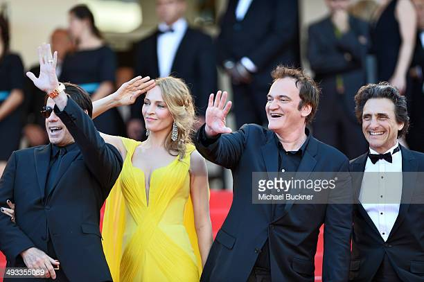 John Travolta Uma Thurman Quentin Tarantino and Lawrence Bender attend the 'Clouds Of Sils Maria' premiere during the 67th Annual Cannes Film...