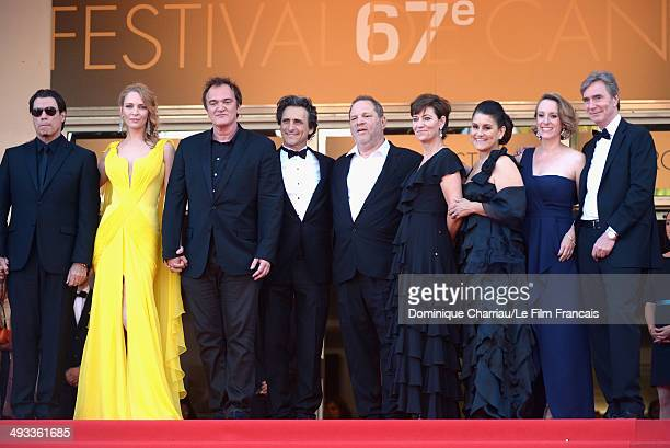 John Travolta Uma Thurman Quentin Tarantino Lawrence Bender Harvey Weinstein and guests attend the 'Clouds Of Sils Maria' Premiere during the 67th...