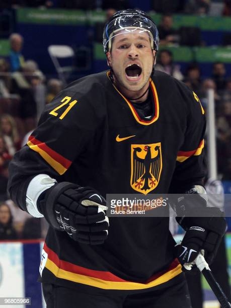 John Tripp of Germany reacts in the first period against Sweden during the ice hockey men's preliminary game on day 6 of the Vancouver 2010 Winter...