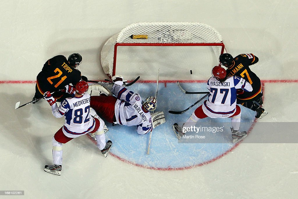 John Tripp (#21) of Germany scores his team's 1st goal during the IIHF World Championship group H match between Germany and Russia at Hartwall Areena on May 5, 2013 in Helsinki, Finland.