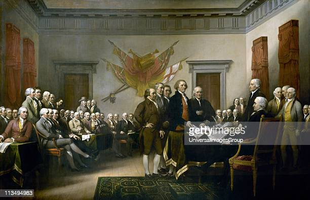 John Trumbull's painting Declaration of Independence depicting the fiveman drafting committee of the Declaration of Independence presenting their...