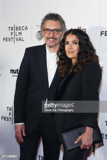 John Turturro and Salma Hayek attend the Shorts Program New York Group Therapy during the 2017 Tribeca Film Festival at Regal Battery Park Cinemas on...