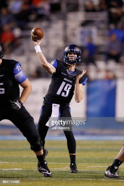 John Urzua of the Middle Tennessee Blue Raiders throws a pass in the third quarter of a game against the Marshall Thundering Herd at Floyd Stadium on...
