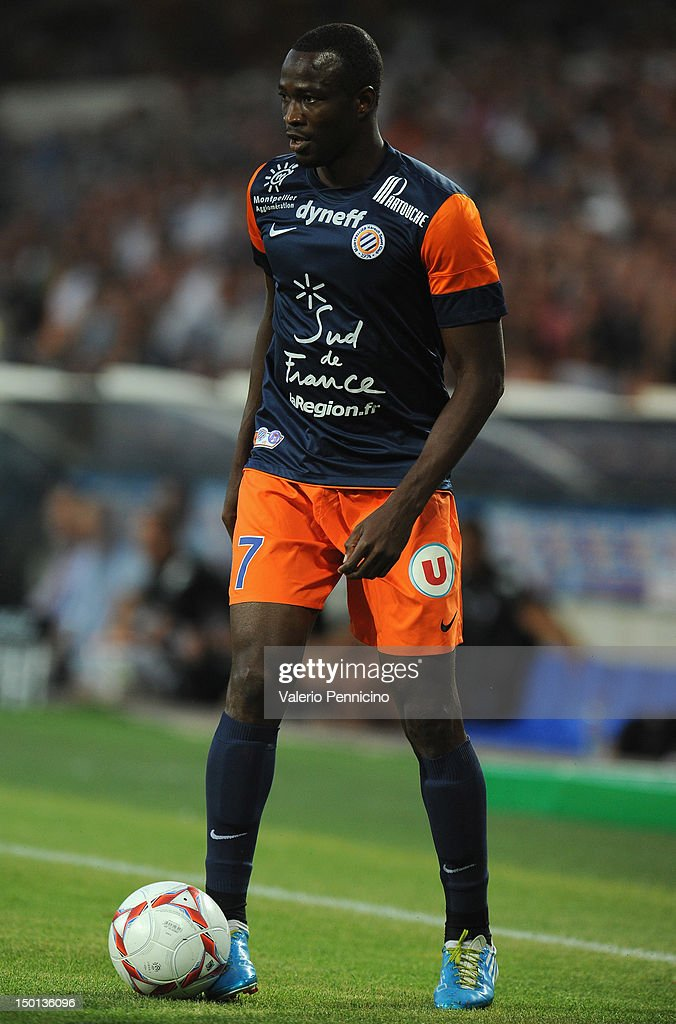 <a gi-track='captionPersonalityLinkClicked' href=/galleries/search?phrase=John+Utaka&family=editorial&specificpeople=654081 ng-click='$event.stopPropagation()'>John Utaka</a> of Montpellier Herault SC in action during the Ligue 1 match between Montpellier Herault SC and Toulouse FC at Stade de la Mosson on August 10, 2012 in Montpellier, France.