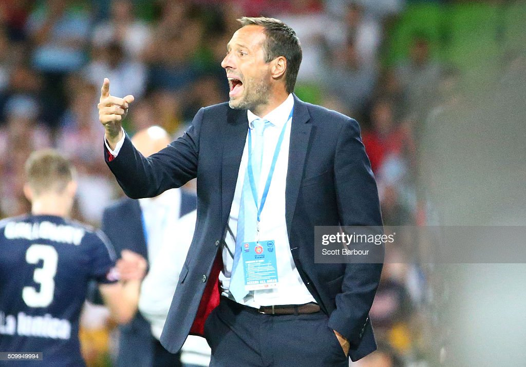 John van 't Schip, coach of City FC gestures during the round 19 A-League match between Melbourne City FC and Melbourne Victory at AAMI Park on February 13, 2016 in Melbourne, Australia.
