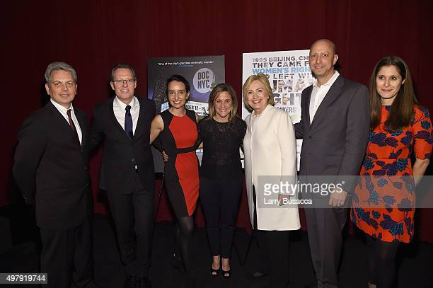 John Vanco Thom Powers Raphaela Neihausen Dylan McGee Hillary Clinton Michael Epstein and Sara Wolitzky attend AOL's MAKERS Once And For All Premiere...