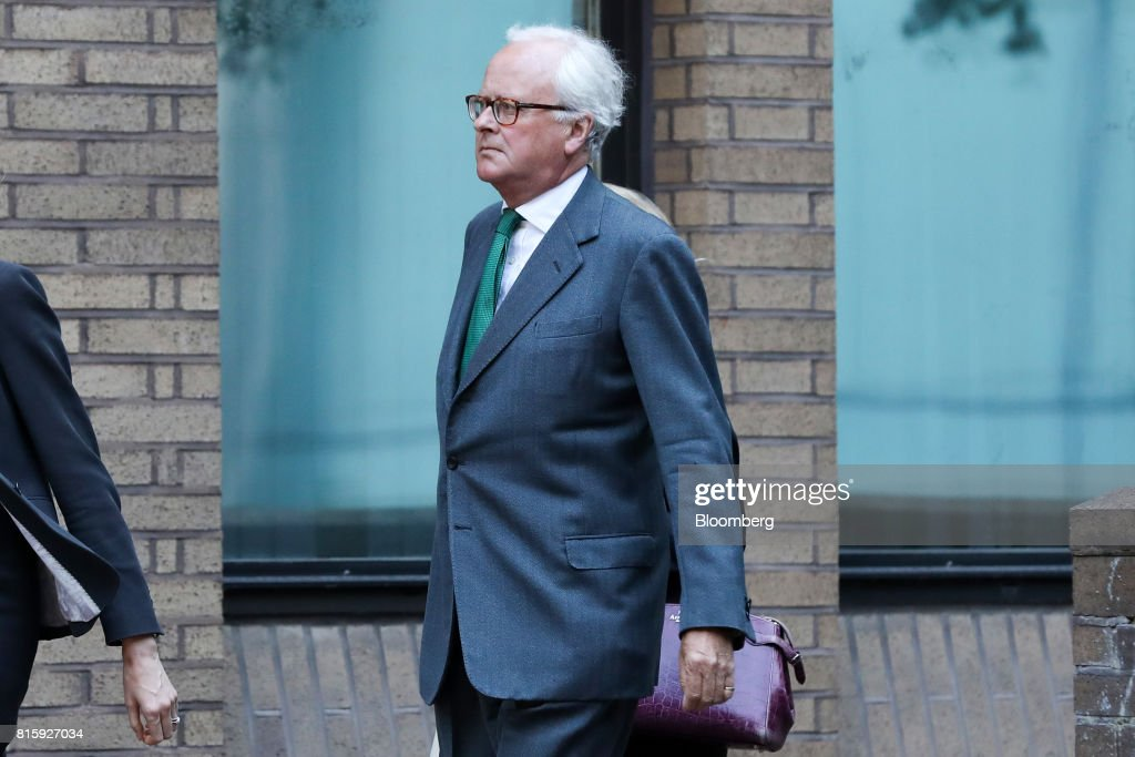 John Varley, former chief executive officer of Barclays Plc, right, arrives at Southwark Crown Court in London, U.K., on Monday, July 17, 2017. Varley, along with three formerBarclays Plcexecutives will stand trial on allegations they conspired to commit fraud over the bank's 2008 fundraising with Qatar in 2019, a London judge ruled. Photographer: Chris Ratcliffe/Bloomberg via Getty Images