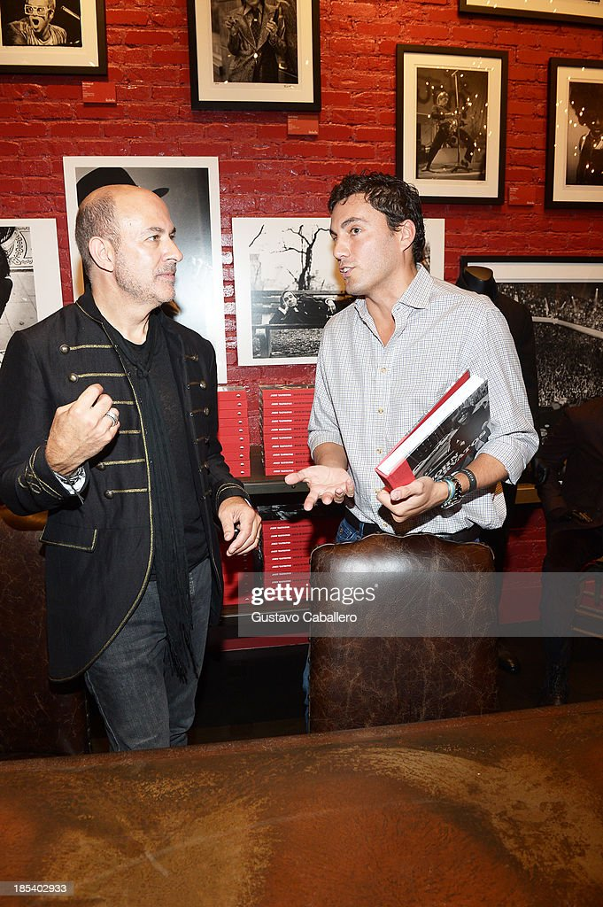 John Varvatos and Fabian Basabe attends the Rock in Fashion Book Launch at John Varvatos South Beach Miami on October 19, 2013 in Miami, Florida.