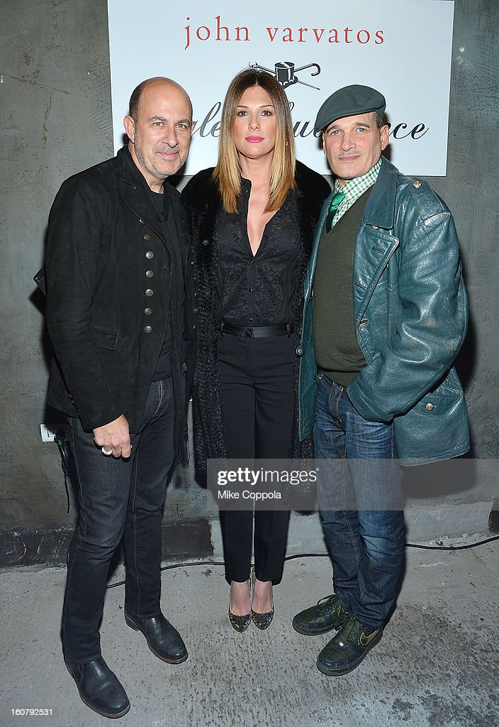 John Varvatos, Daisy Fuentes, and Phillip Bloch pose for a picture as they Celebrate The New JohnVarvatos.com on February 5, 2013 in New York City, United States.