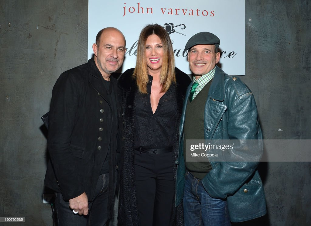 John Varvatos, <a gi-track='captionPersonalityLinkClicked' href=/galleries/search?phrase=Daisy+Fuentes&family=editorial&specificpeople=201611 ng-click='$event.stopPropagation()'>Daisy Fuentes</a>, and <a gi-track='captionPersonalityLinkClicked' href=/galleries/search?phrase=Phillip+Bloch&family=editorial&specificpeople=204171 ng-click='$event.stopPropagation()'>Phillip Bloch</a> pose for a picture as they Celebrate The New JohnVarvatos.com on February 5, 2013 in New York City, United States.