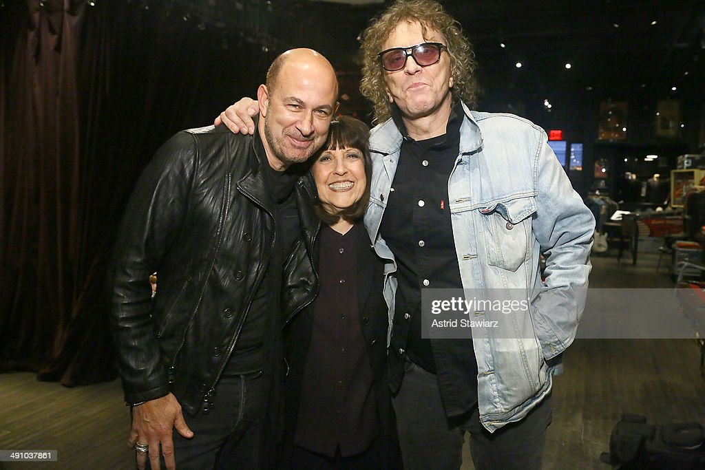 John Varvatos, Lisa Robinson and Mick Rock attend John Varvatos And Lisa Robinson Conversation: There Goes Gravity at John Varvatos 315 Bowery Boutique on May 15, 2014 in New York City.
