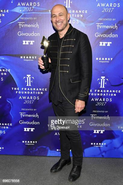 John Varvatos poses backstage at the 2017 Fragrance Foundation Awards Presented By Hearst Magazines at Alice Tully Hall on June 14 2017 in New York...
