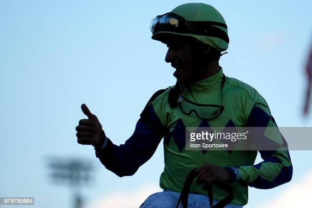 John Velazquez celebrates with fans and family after winning the Kentucky Derby aboard Always Dreaming on Kentucky Derby Day at Churchill Downs on...