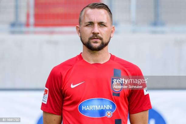 John Verhoek of 1 FC Heidenheim poses during the team presentation at Voith Arena on July 8 2017 in Heidenheim Germany