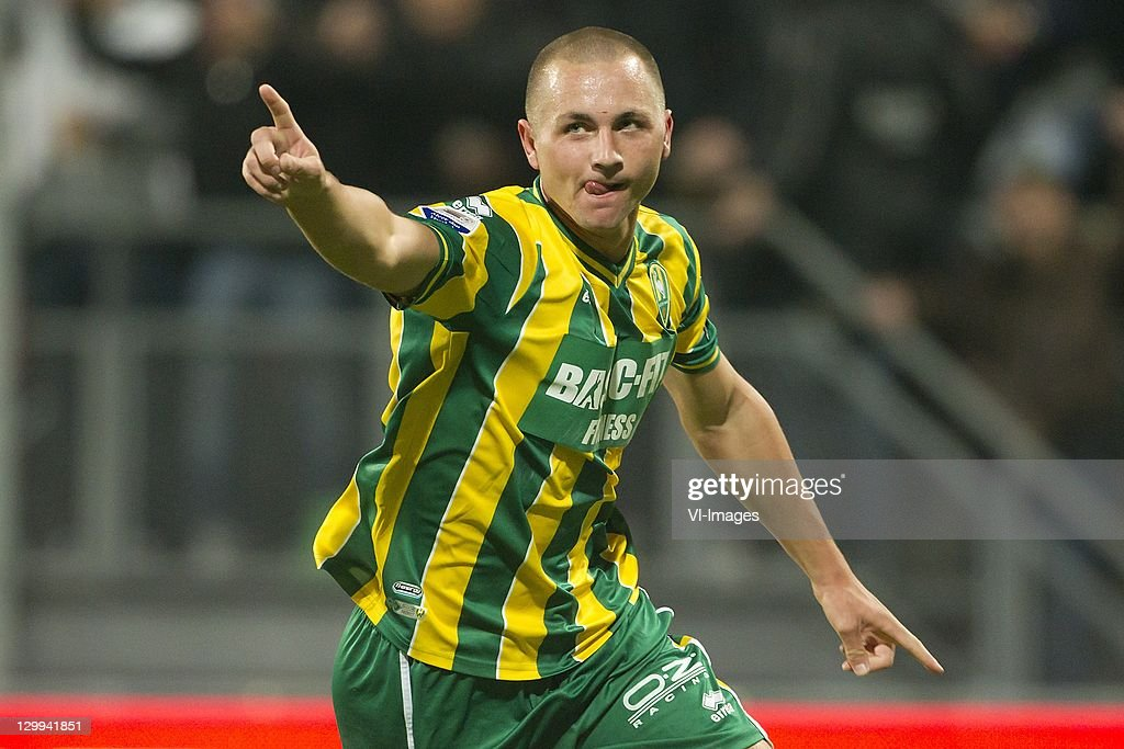 John Verhoek of ADO Den Haag celebrates during the Eredivisie match between ADO Den Haag and NEC at the Kyocera Stadium on October 22 2011 in The...