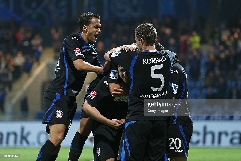 John Verhoek of Frankfurt (C) celebrates his team's first goal with his team mates during the Second Bundesliga match between FSV Frankfurt and VfR Aalen at Frankfurter Volksbank Stadium on March 8, 2013 in Frankfurt am Main, Germany.