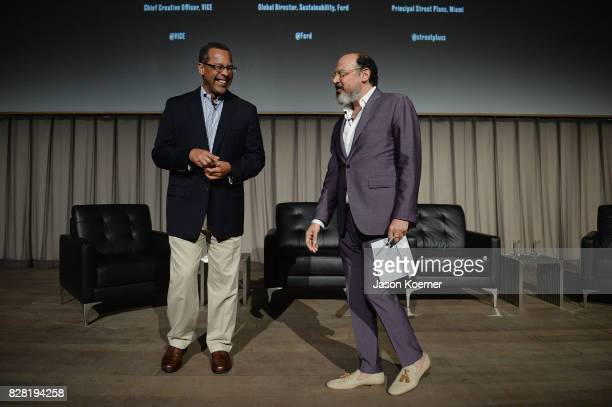 John Viera Director of Sustainability at Ford and Eddy Moretti Chief Creative Officer at Vice speak on stage during FordVICE Impact's 'The Third...