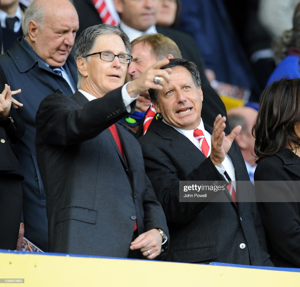 John W Henry, new owner of Liverpool FC during the Barclays Premier League match between Everton and Liverpool at Goodison Park on October 17, 2010 in Liverpool, England.